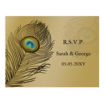 gold peacock wedding  rsvp postcard