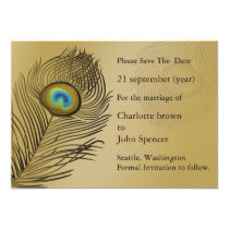 gold peacock wedding save the date card