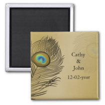gold peacock wedding save the date magnet