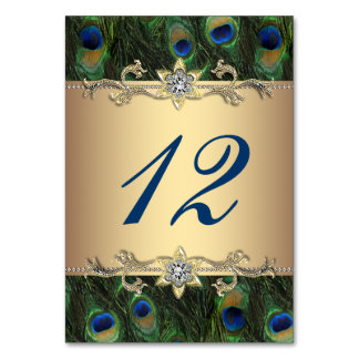 Gold Peacock Wedding Table Number