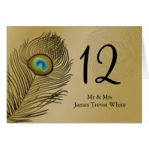 gold peacock wedding table seating card