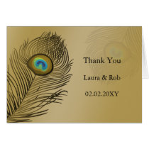 gold peacock wedding Thank You Card