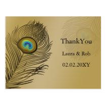 gold peacock wedding Thank You Postcard