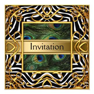 "Gold Peacock Zebra Invitation Any Party 5.25"" Square Invitation Card"