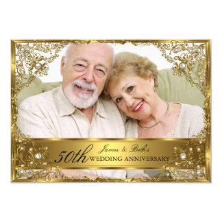 Gold Pearl Damask Photo 50th Wedding Anniversary Card