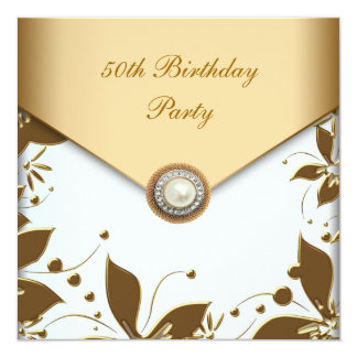 Gold Pearl Floral Jewel Womans 50th Birthday Party Card