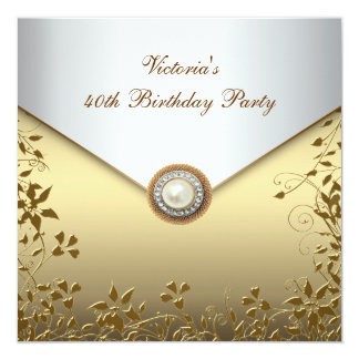 Gold Pearl Floral Womans 40th Birthday Party Card