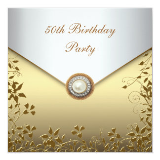 Gold Pearl Floral Womans 50th Birthday Party Card