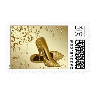 Gold Pearl Glitter High Heel Shoe Postage