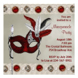 Gold Pearl Red Masquerade Party Personalized Invite