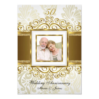 Gold & Pearl Swirl Damask Photo 50th Anniversary Card
