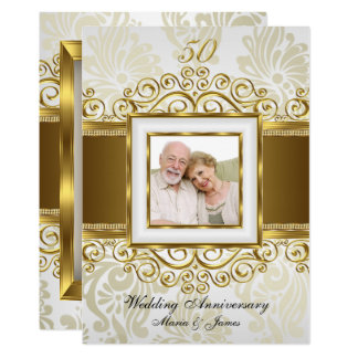 Gold & Pearl Swirl Damask Photo 50th Anniversary Invitation