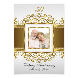 Gold & Pearl Swirl Photo 50 Anniversary Invite