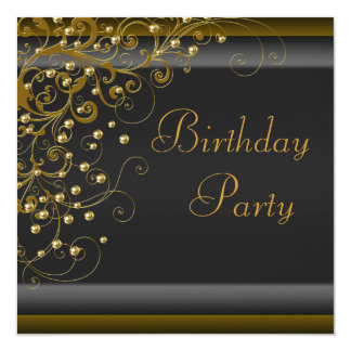 Gold Pearl Swirl Womans Black Gold Birthday Party Card