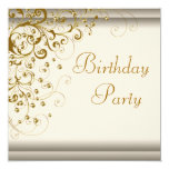 Gold Pearl Swirl Womans Ivory Gold Birthday Party 5.25x5.25 Square Paper Invitation Card