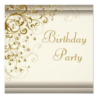 Gold Pearl Swirl Womans Ivory Gold Birthday Party Invitation