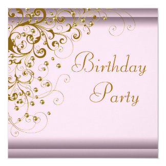 Gold Pearl Swirl Womans Pink Gold Birthday Party Card