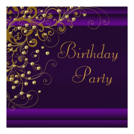 Gold Pearl Swirl Womans Purple Birthday Party Custom Announcement