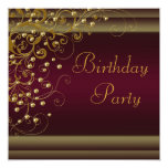 """Gold Pearl Swirl Womans Red Wine Birthday Party 5.25"""" Square Invitation Card"""