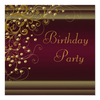 Gold Pearl Swirl Womans Red Wine Birthday Party Custom Announcements