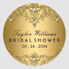 Gold Pearl Vintage Glamour Bridal Shower Sticker at Zazzle