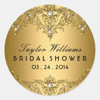 Gold Pearl Vintage Glamour Bridal Shower Sticker