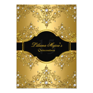 Gold Pearl Vintage Glamour Quinceanera Card