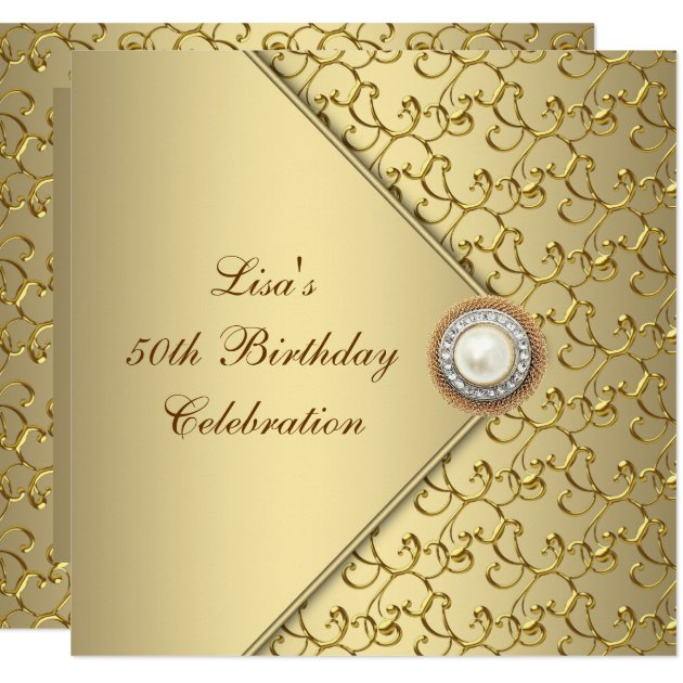 Womans 50th Birthday Party Invitations Announcements Zazzle