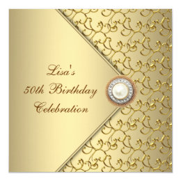 50th birthday invitations zazzle gold pearl womans 50th birthday party card filmwisefo Images