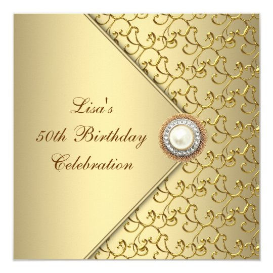 gold pearl womans 50th birthday party card   zazzle, Wedding invitations