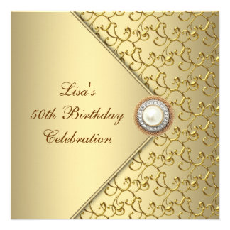 Gold Pearl Womans 50th Birthday Party Personalized Invitation