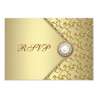 Gold Pearl Womans 50th Birthday Party RSVP Card