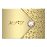 Gold Pearl Womans 50th Birthday Party RSVP Announcements