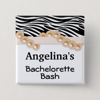Gold Pearls And Ribbon Guest Party Favor Button
