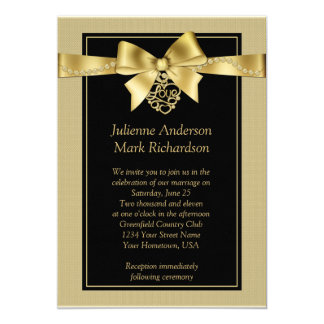 Gold Pearls and Ribbon on Black Wedding Invitation