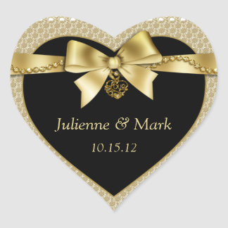 Gold Pearls Ribbon on Black Heart Heart Sticker