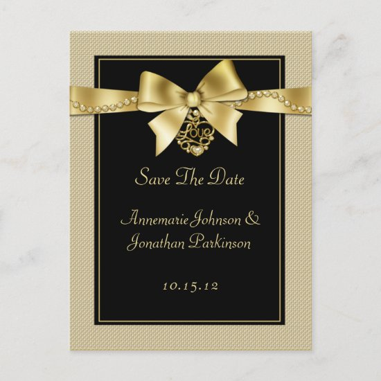 Gold Pearls Ribbon on Black Save The Date Announcement Postcard