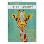 Gold Peeking Giraffe  Birthday Card