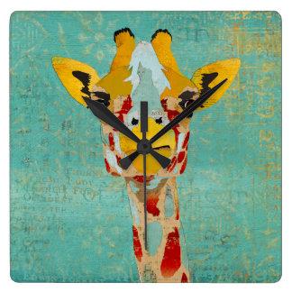 Gold Peeking Giraffe Clock