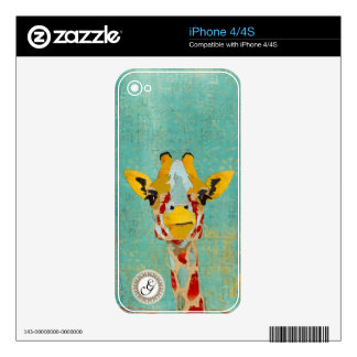 Gold Peeking Giraffe Monogram Skin Decal For iPhone 4