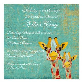 Gold Peeking Giraffes  Baby Invitation
