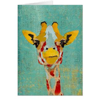 Gold Peeking Giraffes  Notecard Greeting Cards