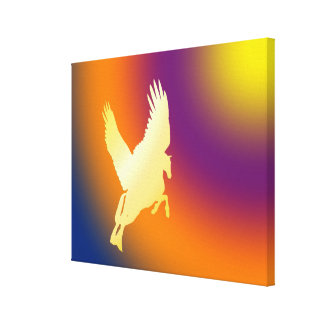 Gold Pegasus Flying Into Sunrise Canvas