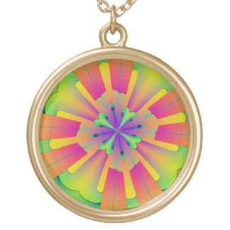 Gold pendant,multi coloured abstract gold plated necklace