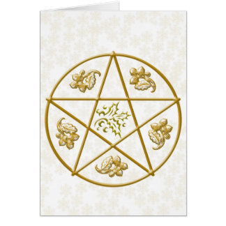 Gold Pentacle, Holly & Oak, with Gold Snowflakes Card