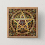 Gold Pentacle Square Button