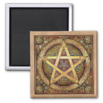 Gold Pentacle Square Magnet
