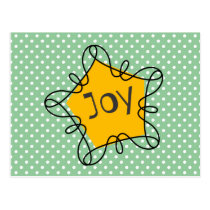 Gold Pentagon With Curling Border and JOY Postcard