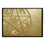 Gold Pentagram, Holly, & Tri-quatra- Card #1H