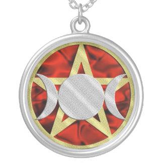 Gold Pentagram Silver Triple Goddess Pendants